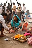 Pilgrims on the ghats during the festival of Kartik Poornima in Varanasi, Uttar Pradesh, India