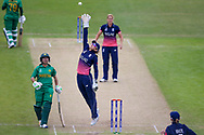 England womens cricket player Sarah Taylor (wk)  reaches high for the ball during the ICC Women's World Cup match between England and Pakistan at the Fischer County Ground, Grace Road, Leicester, United Kingdom on 27 June 2017. Photo by Simon Davies.