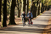 Bij Woudenberg genieten fietsers in het bos van het mooie herfstweer.<br /> <br /> Cyclists enjoy the beautiful autumn weather in the woods near Woudenberg.