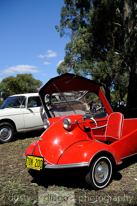 The three-wheeled Messerschmitt KR200, or Kabinenroller (Cabin Scooter), produced between 1955 and 1964. 2011 Classic Car Show, Whiteman Park, Perth, Western Australia. March 20, 2011.