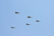 5 Israeli Air Force F-15I flying in formation