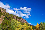 Fall color under the Rio Grande Palisades (Highway 149), Rio Grande National Forest, Colorado