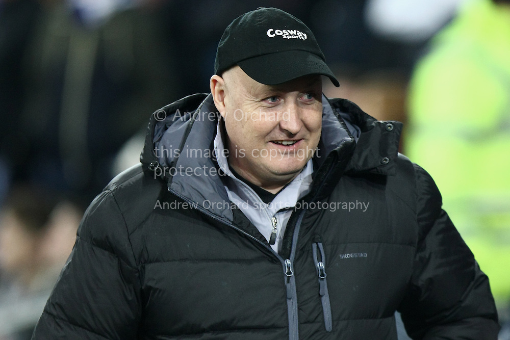 Cardiff City manager Russell Slade looks on before kick off.<br /> Skybet football league championship match, Cardiff City v Brighton & Hove Albion at the Cardiff city Stadium in Cardiff, South Wales on Tuesday 10th Feb 2015.<br /> pic by Mark Hawkins, Andrew Orchard sports photography.