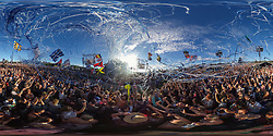 The crowd watch Biffy Clyro perform on the Pyramid Stage during the Glastonbury Festival at Worthy Farm in Pilton, Somerset