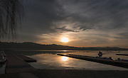 Varese. Lombardia. ITALY. General View. Varese Rowing Club. [Canottieri Varese] Province of Varese.  Sunset <br /> <br /> Monday  02/01/2017<br /> <br /> [Mandatory Credit; Peter Spurrier/Intersport-images]<br /> <br /> <br /> LEICA CAMERA AG - LEICA Q (Typ 116) - 1/2000 - f5.6 , Atmospheric, mist, fog, Sunrise, Sunset, Blue Hour,