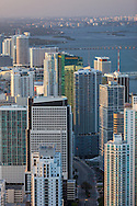 Aerial view of Miami looking north on Brickell Avenue showing the financial district and downtown Miami in the distance.