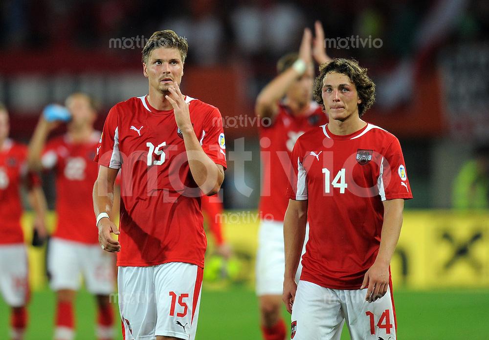 Fussball International  WM Qualifikation 2014   11.09.2012 Oesterreich - Deutschland Sebastian Proedl und Julian BAUMGARTLINGER (v. li., Oesterreich)
