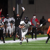 Grants' Dominic Martinez (83) runs for a touchdown on an interception against Gallup in the second quarter at the Angelo Dipaolo Memorial Stadium Friday night in Gallup.