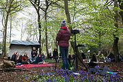 Activists and local residents opposed to HS2 attend a tribute event in Jones Hill Wood to ancient woodland being felled there for the high-speed rail link on 9th May 2021 in Wendover, United Kingdom. The event featured a reading of an adaptation of Roald Dahls Fantastic Mr Fox, which he is said to have been inspired to write by Jones Hill Wood, as well as poems, speeches, a film screening and face painting.