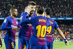 May 6, 2018 - Barcelona, Catalonia, Spain - FC Barcelona forward Lionel Messi (10) celebrates scoring the goal with FC Barcelona defender Gerard Pique (3) during the match between FC Barcelona v Real Madrid, for the round 36 of the Liga Santander, played at Camp nou  on 6th May 2018 in Barcelona, Spain. (Credit Image: © Urbanandsport/NurPhoto via ZUMA Press)