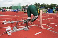 Handicap-idrett / Friidrett<br /> Foto: imago/Digitalsport<br /> NORWAY ONLY<br /> <br /> Oscar Pistorius (Südafrika) während der IPC Leichtathletik WM 2006 in Assen mit seinen Flex Foot Cheetah mit Spikeschuh im Startblock