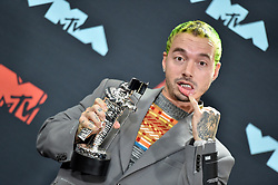 Singer J Balvin poses in the Press Room during the 2019 MTV Video Music Awards at Prudential Center on August 26, 2019 in Newark, New Jersey. Photo by Lionel Hahn/ABACAPRESS.COM