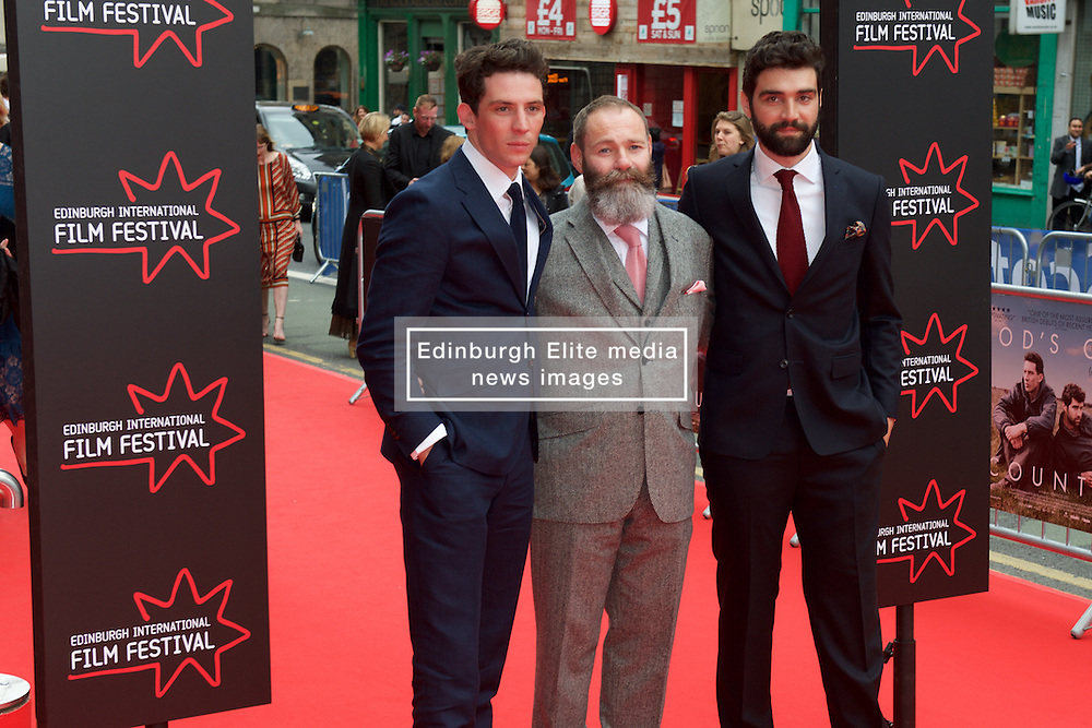 Left to right, Josh O'Connor, Francis Lee ( Writer and Director) Alec Secareanu on the red carpet at the Edinburgh International Film Festival Opening Night Gala opens with the UK  Premier of God's Own Country directed by Francis Lee at Edinburgh's Festival Theatre. Wednesday 21st June 2017(c) Brian Anderson   Edinburgh Elite media