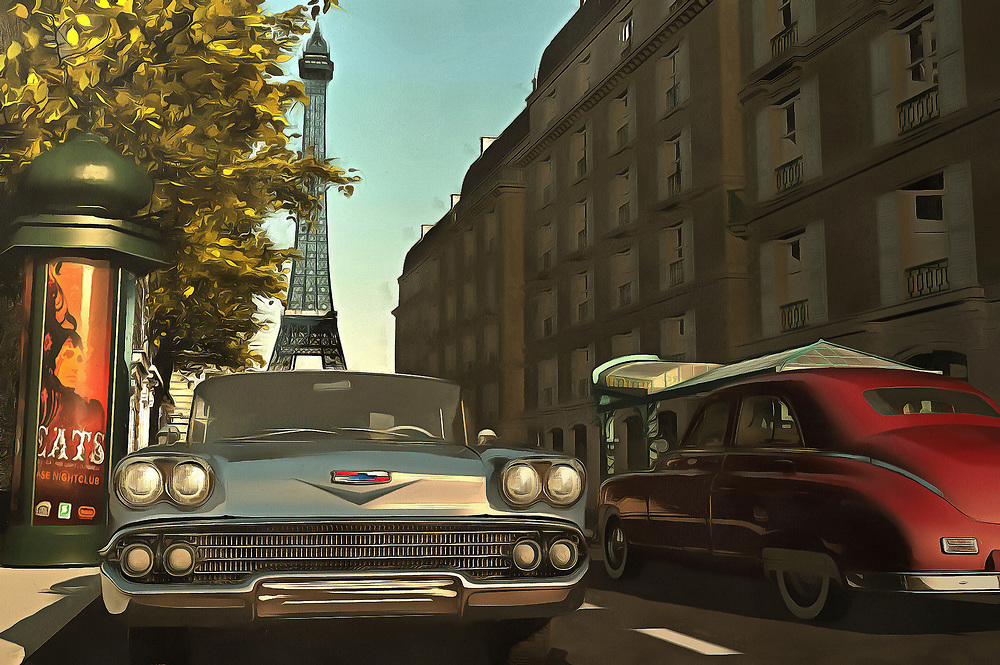 Two things that are wonderfully romantic to many of us: The streets of Paris on a beautiful late-afternoon, and classic sports cars from days gone by. This lovely piece brings both of these iconic elements together. The end result is a city scene that will take your heart, as easily as it will take you to your own version of this scene. We all dream of getting away. We all imagine living in an extraordinary city, and driving a beautiful car. This piece is available as wall art, and it is also available on t-shirts. This piece can also be purchased on several interior décor products. .<br /> <br /> BUY THIS PRINT AT<br /> <br /> FINE ART AMERICA<br /> ENGLISH<br /> https://janke.pixels.com/featured/american-oldtimers-in-paris-jan-keteleer.html<br /> <br /> WADM / OH MY PRINTS<br /> DUTCH / FRENCH / GERMAN<br /> https://www.werkaandemuur.nl/nl/shopwerk/Retro---Klassiek-Amerikaanse-oldtimers-in-Parijs/439396/134