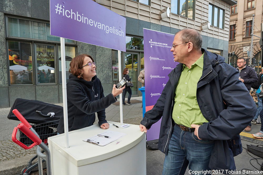 Interview booth at the DEKT 2017 - evening of the encounter at Gendarmenmarkt in Berlin.