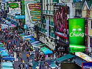 """24 JULY 2018 - BANGKOK, THAILAND:  on Khao San Road, in Bangkok. Khao San Road is Bangkok's original """"Backpacker Ghetto"""" and is still a popular hub for travelers, with an active night market and many street food stalls. The Bangkok municipal government plans to shut down the street market by early August because city officials say the venders, who set up on sidewalks and public streets, pose a threat to public safety and could impede emergency vehicles. It's the latest in a series of night markets the city has closed.    PHOTO BY JACK KURTZ"""