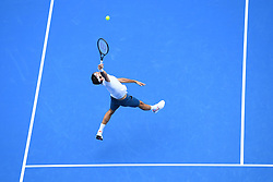January 16, 2019 - Melbourne, AUSTRALIA - ROGER FEDERER of Switzerland in action against Dan Evans of Great Britain during their match at the Australian Open in Melbourne. Federer won 7:6, 7:6, 6:3. (Credit Image: © Panoramic via ZUMA Press)