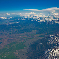 An aerial view of the eastern Sierra Nevada, viewed looking south from over Gardnerville, Nevada.