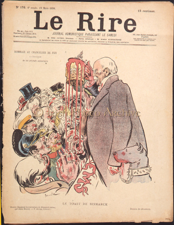 Cartoon from 'Le Rire', Paris, 19 March 1898 dedicated to Otto von Bismarck (1815-1898) German statesman, known as the Iron Chancellor, on his forthcoming birthday on 1 April.  Bismarck died on 30 July 1898.
