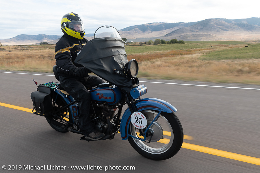 Joe Burch riding his 1928 Harley-Davidson JDH in the Motorcycle Cannonball coast to coast vintage run. Stage 13 (254 miles) Kalispell, MT to Spokane, WA. Friday September 21, 2018. Photography ©2018 Michael Lichter.