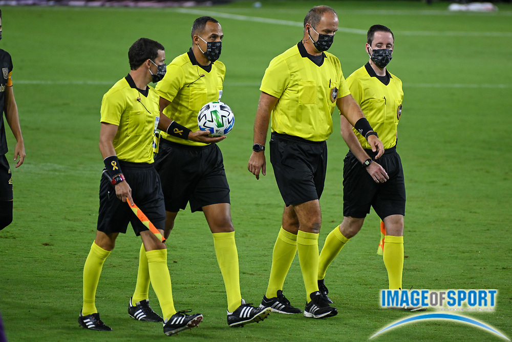 FIFA Referees take the field before a MLS soccer game, Sunday, Sept. 27, 2020, in Los Angeles. The San Jose Earthquakes defeated LAFC 2-1.(Dylan Stewart/Image of Sport)