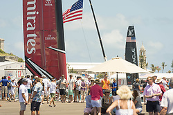 June 21, 2017 - Bermudes, USA - The America's Cup Village, Ireland Island, Bermuda, 18th June. Emirates Team New Zealand and Oracle Team USA AC50s wait at the dock before racing on day two of the America's Cup. (Credit Image: © Panoramic via ZUMA Press)