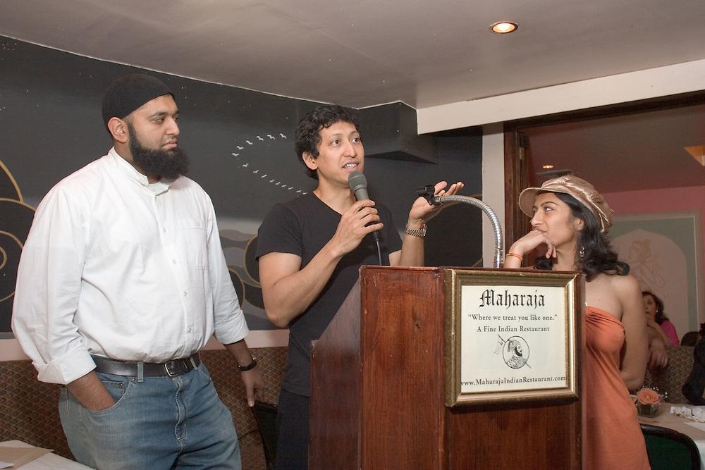 Comics Azhar Usman, Dan Nainan, and Rasika Mathur perform at the annual convention of the South Asian Journalists' Association