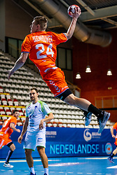 The Dutch handball player Jeffrey Boomhouwer in action against Slovenia during the European Championship qualifying match on January 6, 2020 in Topsportcentrum Almere