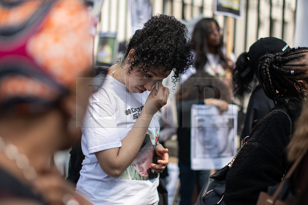 © Licensed to London News Pictures. 17/04/2019. London, UK. An anti-knife crime demonstration named 'Operation Shutdown' takes place outside Downing Street, following a rise in knife crime and violence in the capital. Speakers include family members of those lost to knife crime. Photo credit : Tom Nicholson/LNP