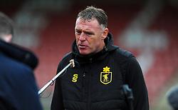 Mansfield Town manager Graham Coughlan is interviewed by media prior to kick-off- Mandatory by-line: Nizaam Jones/JMP - 24/10/2020 - FOOTBALL - Jonny-Rocks Stadium - Cheltenham, England - Cheltenham Town v Mansfield Town - Sky Bet League Two