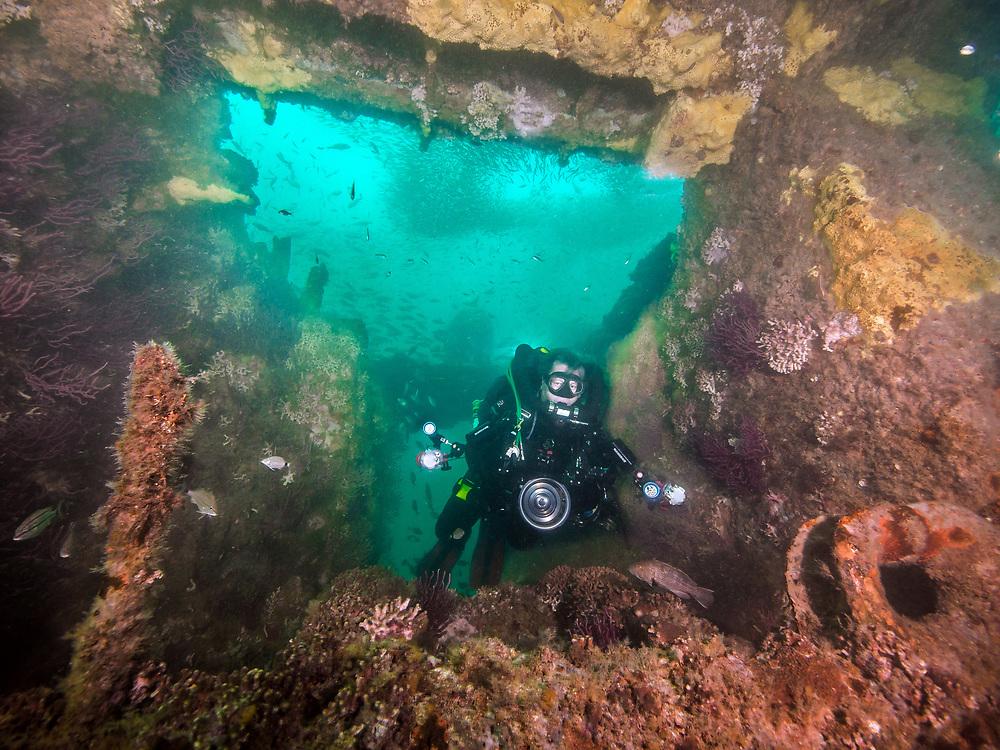 KISS rebreather scuba diver on Papoose shipwreck in North Carolina,  USA