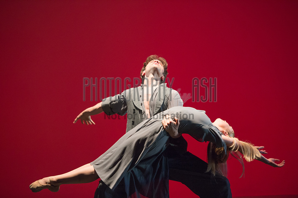 """Laurent Liotardo & Nancy Osbaldeston performing """"[co][hes][ion]"""" choreographed by Fabian Reimar at English National Ballet Choreographics at The Place Theatre, Euston, London on May 03 2013. Photo: Amber Hunt"""