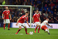 Emyr Huws of Wales (20) in action.Vauxhall International football friendly, Wales v The Netherlands at the Cardiff city stadium in Cardiff, South Wales on Friday 13th November 2015. pic by Andrew Orchard, Andrew Orchard sports photography.