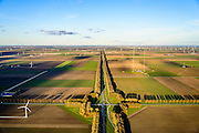 Nederland, Flevoland, 28-02-2016; Provinciale weg 706, Vogelweg. Kruising met Dodaarsweg en Duikerweg. Zenderpark.<br /> De beplanting van de Vogelweg is een voorbeeld van de landschapsarchitectuur van Flevoland.<br /> Vogelweg, example of landscape architecture in the new polder Flevoland.<br /> <br /> luchtfoto (toeslag op standard tarieven);<br /> aerial photo (additional fee required);<br /> copyright foto/photo Siebe Swart