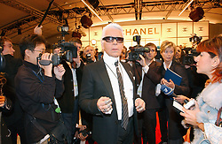 German stylist Karl Lagerfeld during his Spring/Summer 2005 Ready-to-Wear collection presentation for the French fashion house Chanel at the Carrousel du Louvre in Paris, France, on October 8, 2004. Photo by Klein-Nebinger/ABACA.