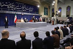 Handout photo - Iranian supreme leader Ayatollah Ali Khamenei (C) speaks during the swearing-in ceremony of Iranian President Hasan Rouhani (3R) as Parliament Speaker Ali Larijani (2R), Judiciary Chief Sadeq Larijani (3L) and Iran's head of the Assembly of Experts, Ahmad Jannati (2L) listen on in Tehran, Iran, on August 3, 2017. Rouhani vowed to continue his efforts to end the country's isolation as he was sworn in by supreme leader Ayatollah Ali Khamenei to serve his second term following his re-election in May. Photo via Parspix/ABACAPRESS.COM