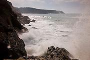The sea shows its strength on the rocks at Sao Martinho do Porto, in the center coasline of Portugal.