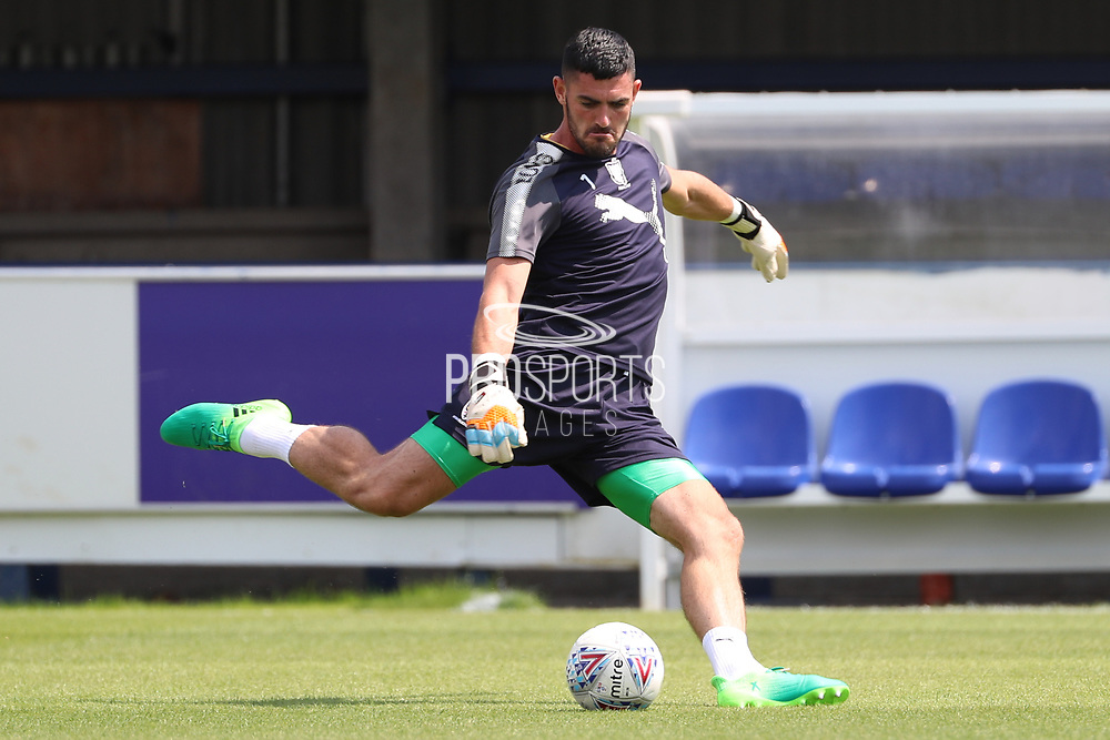 AFC Wimbledon goalkeeper Tom King (1) warming up during the Pre-Season Friendly match between AFC Wimbledon and Queens Park Rangers at the Cherry Red Records Stadium, Kingston, England on 14 July 2018. Picture by Matthew Redman.