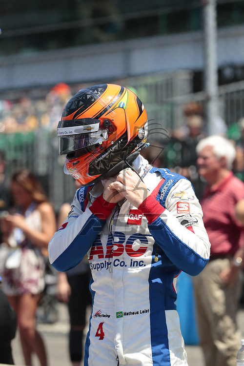 MATHEUS LEIST (4) of Brazil prepares to qualify for the Indianapolis 500 at Indianapolis Motor Speedway in Indianapolis, Indiana.