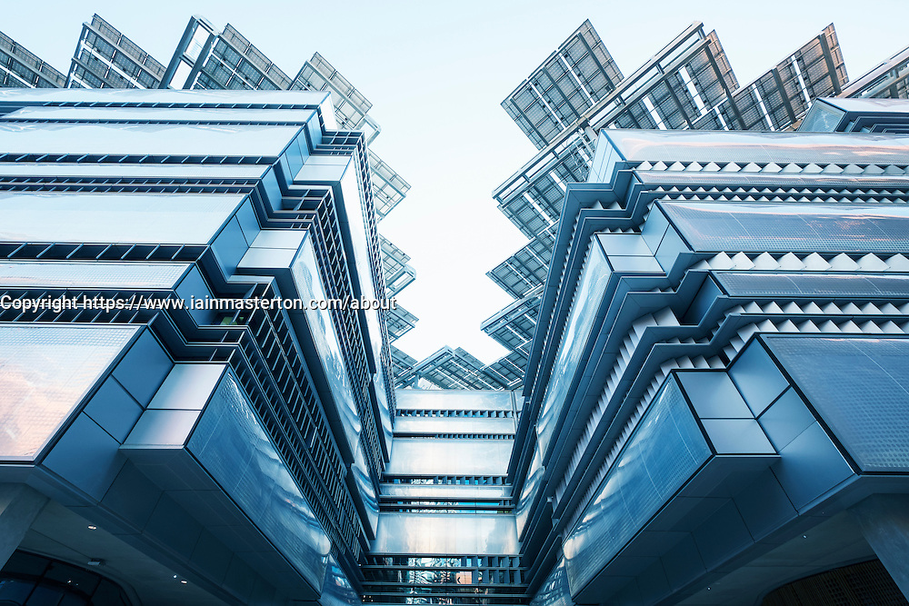 Architectural detail of modern building with solar panels on roof at Institute of Science and Technology at Masdar City in Abu Dhabi United Arab Emirates