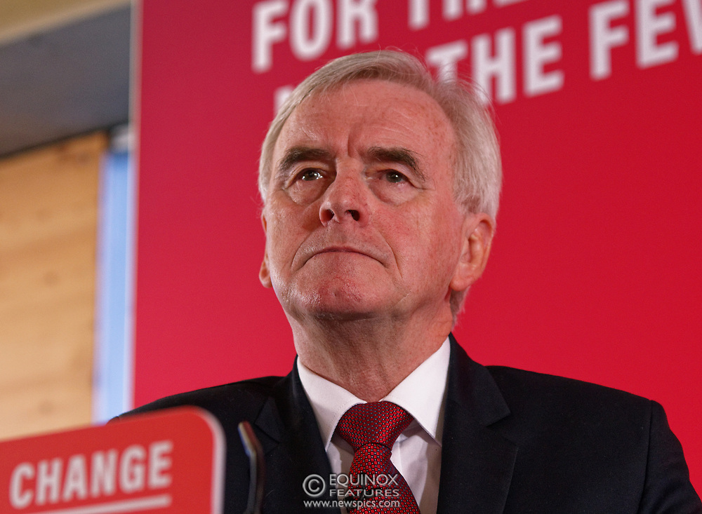 London, United Kingdom - 9 December 2019<br /> John McDonnell gives an economics speech in the run up to the general election 2019, on behalf of the Labour Party at Coin Street Community Builders, London, England, UK.<br /> (photo by: EQUINOXFEATURES.COM)<br /> Picture Data:<br /> Photographer: Equinox Features<br /> Copyright: ©2019 Equinox Licensing Ltd. +443700 780000<br /> Contact: Equinox Features<br /> Date Taken: 20191209<br /> Time Taken: 11322700<br /> www.newspics.com