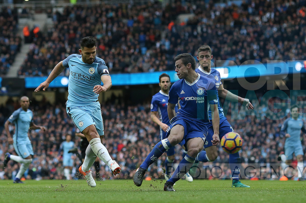 Sergio Aguero of Manchester City has a shot on goal during the Premier League match at the Etihad Stadium, Manchester. Picture date: December 3rd, 2016. Pic Simon Bellis/Sportimage