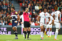 Alexandre Ruiz / Carton rouge Census Johnston - 23.05.2015 - Stade Toulousain / Begles Bordeaux - 26e journee Top 14<br />