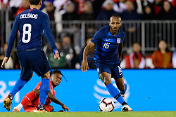October 16, 2018 - East Hartford, Connecticut, United States - East Hartford, CT - Tuesday October 16, 2018: The men's national team of the United States (USA) played Peru (PER) played to a 1-1 tie during an international friendly at Pratt & Whitney Stadium at Rentschler Field. (Credit Image: © Howard C. Smith/ISIPhotos via ZUMA Wire)