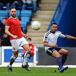 TELFORD COPYRIGHT MIKE SHERIDAN 9/3/2019 - Marcus Dinanga of AFC Telford crosses during the National League North fixture between AFC Telford United and FC United of Manchester (FCUM) at the New Bucks Head Stadium