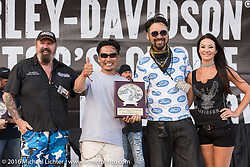 Yuichi Yoshizawa and Yoshikazu Ueda of Custom Works Zon in Japan receiving awards from Doc of Heavy Duty Magazine Australia for their custom Street 750 at the Harley-Davidson Editors Choice Custom Bike Show during the annual Sturgis Black Hills Motorcycle Rally.  SD, USA.  August 9, 2016.  Photography ©2016 Michael Lichter.