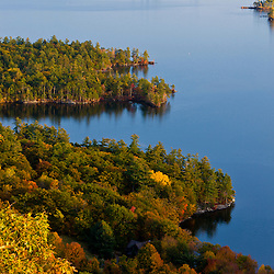 View of Squam Lake from West Rattlesnake Mountain in Holderness, New Hampshire. Fall.