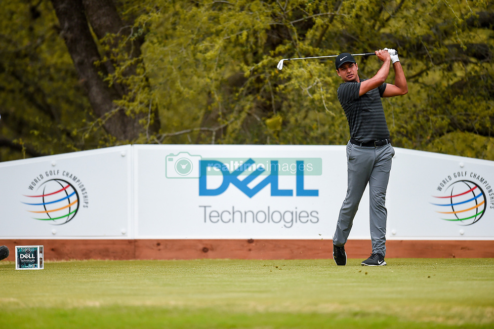 March 23, 2018 - Austin, TX, U.S. - AUSTIN, TX - MARCH 23: Julian Suri watches his tee shot during the third round of the WGC-Dell Technologies Match Play on March 23, 2018 at Austin Country Club in Austin, TX. (Photo by Daniel Dunn/Icon Sportswire) (Credit Image: © Daniel Dunn/Icon SMI via ZUMA Press)