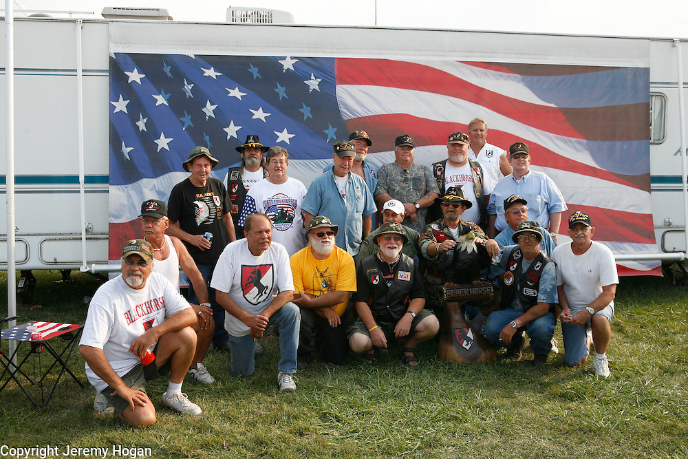 Members of the 11th ACR (Armored Cavalry Regiment) who served during the Vietnam War pose for a group photo at the 2008 Kokomo Indiana Vietnam Veterans Reunion.