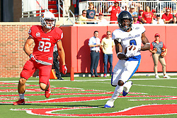 17 September 2016: Devin Church intercepts a pass in the endzone and runs it back out, but it is negated by 3 flags.  NCAA FCS Football game between Eastern Illinois Panthers and Illinois State Redbirds for the 105th Mid-America Classic on Family Dat at Hancock Stadium in Normal IL (Photo by Alan Look)